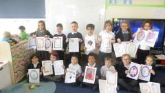Class 1 with their letters and pictures for Fulford Nursing Home