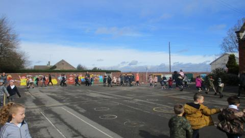 Sport Relief - walk a mile around the playground