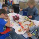 Class 1 celebrating Mrs Jones' school dinners